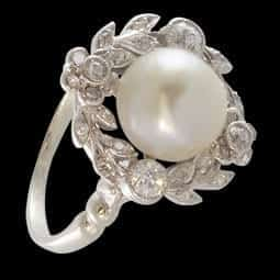 Antique Floral Pearl and Diamond ring