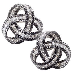 Black and White Diamond Knot Earrings