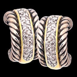 David Yurman Diamond Cable Design Earrings