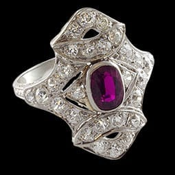 Deco Ruby and Diamond Ring