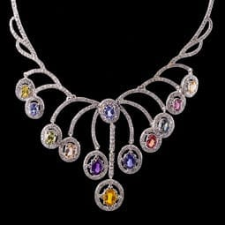 Multicolor Sapphire and Diamond Necklace