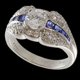 Platinum Diamond and Sapphire Estate Ring