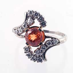 Spessartite Garnet Diamond RIng
