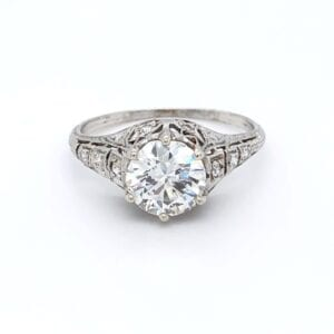 Platinum vintage estate diamond ring with 1.50ct Old European Cut Diamond
